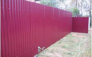 Забор из профнастила технология установки