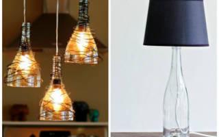 Необычная лампа из стеклянной бутылки