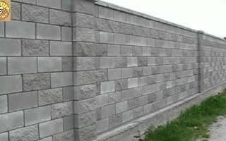 Забор из шлакоблока и профнастила